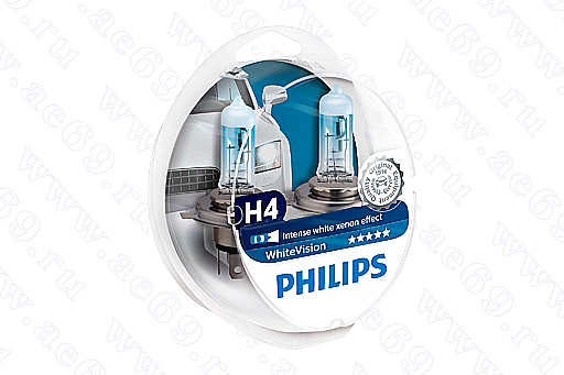 "Лампа галог. H4 12*60*55 ""Philips"" White Vision Германия (к-т 2 шт.)<br />"