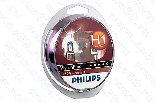 "Лампа галог. H1 12*55 (б\пров.) ""Philips"" VisionPlus +50%(к-кт 2шт) Германия"